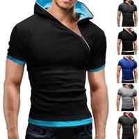 T-shirts Hommes Mode Fashion manches courtes Couleur Hood HoM Head Diagonal Zip Slim T-shirt Hoodie