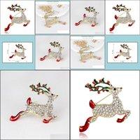 Pins, Jewelryenamel Rudolph Deer Brooches Pins Cor Gifts Year Fashion Women Rhinestones Christmas Brooch Drop Delivery 2021 Cuzab