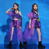 Clothing Sets Girl Party Sequin Crop Top Lace Shorts Skirt Kids Purple Princess Dress Dance Clothes Set Child Stage Jazz Off Shoulder Costum