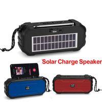Multifunctional Bluetooth Speaker Solar Charge Portable Stereo Speakers LED Flashlight FM Radio USB Disk TF MP3 Music Player Outdoor Sports HiFi Soundbox