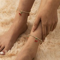 Retro Single Red Cherry Diamond Anklets European Alloy Pendant Claws Chains For Women Beach Vacation Foot Ornaments Fashion Accessories Wholesale