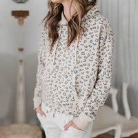Women's Hoodies & Sweatshirts 2021 Autumn Winter Sexy Leopard Pocket Pullover Tops Korean Womens Clothes Long Sleeve Slim Warm Soft Outerwea