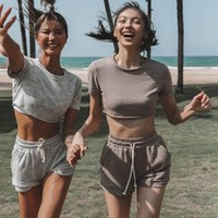 Women's Tracksuits 2021 Spring Summer Fashion Casual Show Waist Short-sleeved Sport Crop Top And Shorts Suit Two-piece Matching Sets
