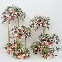 Candle Holders Wrought Iron Geometry Road Guide Flower Stand Wedding Bouquet Shelf Props Table Centerpieces Artificial Ball Decoration