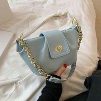 Shoulder Bags Elegant Solid Pu Leather For Women 2021 Summer Bucket Handbags Casual Chain Crossbody Bag Simple Design Luxury