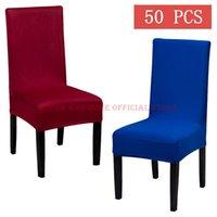 의자 커버 50pcs 폴리 스트레치 다이닝 커버 홈 엘 웨딩 솔리드 스판덱스 화이트 블랙 레드 블루 장식