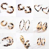 Hoop & Huggie 2021 Big Circle Acrylic Earrings For Women Large Polygonal Resin Geometric Statement Leopard Jewelry Gift