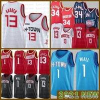 2021 NUEVO Jersey de baloncesto HoustonRocket Mens John 1 Wall James 13 Harden Hakeem 34 Olajuwon Malla Retro negro rojo