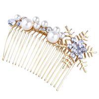 Hair Clips 1pc Alloy Comb Clip Christmas Snowflakes Wedding Bridal Headpiece Artificial Pearl Headdress