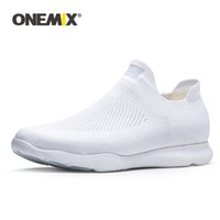 ONEMIX 2020 New Arrival Men Sports Sneakers Sock Shoes Breathable Mesh Trainers Lightweight Slip On Tenis Shoes Walking Sneaker