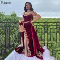 파티 드레스 Burgundy 인어 저녁 2021 골드 레이스 아플리케 두바이 사우디 아랍어 롱 스플릿 벨벳 술 가운 공식 드레스