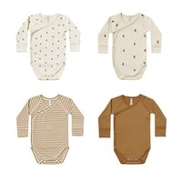 Baby Long Sleeve Bodysuit Organic Cotton Romper Stripe Moon Cactus Printing Side Snap Kimono Jumpsuit Newborn Infant Baby Clothing 0-24 Months