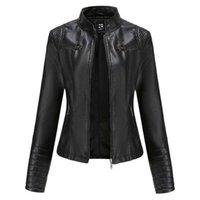 Casacos femininos outono / inverno manga comprida falso jaqueta de couro sólido casaco de motocicleta tamanho grande elegante casual