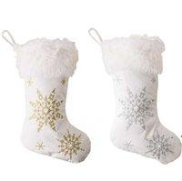 Calcetines de Navidad grandes Blanco Copos de nieve Calcetines de Año Nuevo de Peluches de Año Nuevo Bolsos para el Año Nuevo Decoraciones de Chimenea de Calcetines de Navidad