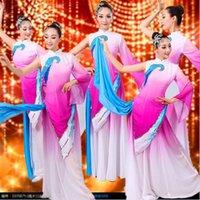 Roxo chinês Yangko dança traje oriental trajes fã desgaste mulheres cintura cintura