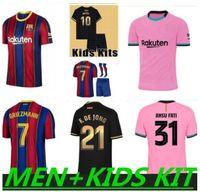 Барселона Футбол Джерси Камиссетас де футболка Messi Barca 20 21 22 Ansu Fati 2021 2022 Griezmann F.de Jong Countinho Dest Jerseys Men + Kids Kit Sets 999