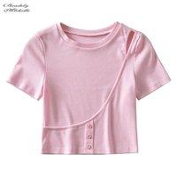 Women's T-Shirt Bradely Michelle 2021 Summer Women Elastic Sexy Solid Cotton Short Sleeve O-neck T Shirt Crop Top