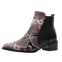 Boots Pu Ankle Shoe Pointed Zapatos Mujer Girls Vintage Booties Snake Grain Women And Shoes