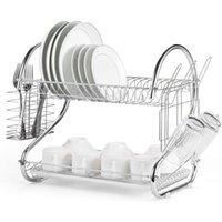 Waco 2-уровня Chrome блюдо Сушилка для сушки и сливной доски, организация хранения кухни, рекордное лечение, с кухонной сушилкой, лоток, кулачком, счетчик утварью, серебристый, серебристый