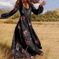 Casual Dresses Womens Vintage Floral Printed Vestidos Autumn Long Dress ZANZEA V Neck Ruffle Plus Size 5XLFashion Puff Sleeve Robe Femme