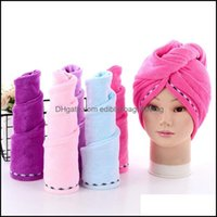 Textiles Home & Gardendry Towel Microfiber Absorbent Dry Hair Drying Lace Turban Wrap Hat Shower Spa Bathing Caps 5 Colors Yw3325 Drop Deliv