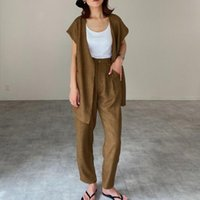 Women's Two Piece Pants Sets For Women Tapered And Cardigan Vest Setup Commuter Plain Lady Fashion Straight Korea Style Casual