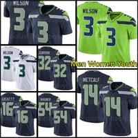 "14 DK MetCalf 3 Russell Wilson Футбольные майки 33 Jamal Adams 54 Bobby Wagner 16 Tyler Lockett Marshawn Lynch Carson Seattle ""Seahawks"" зеленые мужчины женщины"