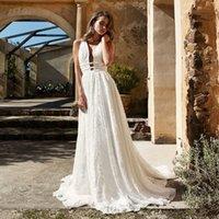 Full Lace Sexy Deep V-neck A-line Wedding Dress with Backless Straps Sweep Train Applique Bridal Dress vestido de novia