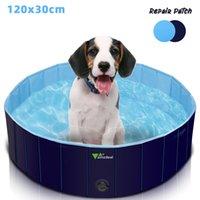 Amzdeal Dobrável Cão Piscina Piscina 120x30cm- Atualizado PVC PVC Banheira De Plástico, Non-Slip, Durável Para Pedidos Pequenos, Médios e Grandes Animais