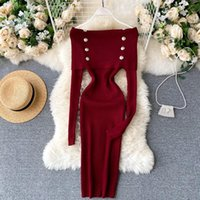 Heeylace slim sexy fuera del hombro otoño bodycon vestido de punto suéter midi casual invierno fiesta mujeres rodilla longitud club vestidos