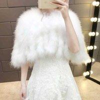 2019 Real Ostrich Fur Feather Women Bolero White Bridal Capes Cloak Natural Fur Winter Autumn Wedding Wrap Shawl Bride Coat Y0909