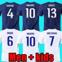 2020 2021 فرنسا France Mailleots de Football Mbappe Grizmann Pogba 20 21 كرة القدم جيرسي مايلوت دي القدم Fekir Pavard Football Kit Top Shirt Hommes Enfants