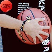 농구 신발 끈 손으로 밧줄 팔찌 크리 에이 티브 티타늄 강철 편지 스포츠 레저 패션 남자와 여자의 손목 밴드
