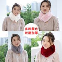 La bufanda de piel de conejo de color puro se mantiene caliente en el invierno y la bufanda de piel de conejo de imitación