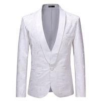 Men's Suits & Blazers Mens White Rose Jacquard Dress Blazer Jacket Men Nightclub Business Wedding Party Suit Stage Singers Clothes Homme