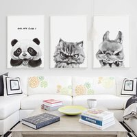 Paintings Black And White Funny Animal Room Decoration Canvas Painting Panda Cat Dog Poster Wall Picture For Living Decor