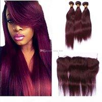 8A бразильские волосы плетение 3 пакета красный 99J бордовый бразильский прямые волосы девственницы прямые чистые цвет человеческие волосы наращивание волос с кружевной фронтной