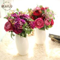 1Bunch Artifical Flowers Fake Rose Hydrangea With Grass Bouq...