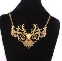 Hirschkopf Hohl Anhänger Halskette Antike Geweih Halsbänder Charm Halskette Frauen Erklärung Schmuck Für Weihnachtsgeschenk