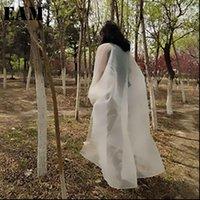 [EAM] Весна осень V женские рубашки воротник с длинным рукавом белый негабарит большой размер органза солнцезащитный креан блузка мода JT55