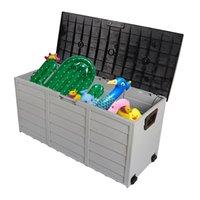 Наружные пластиковые садовые принадлежности 75Gal 260L для хранения колоды для хранения сундук инструменты подушки игрушки блокируемые сиденья мобильный домашний комплект