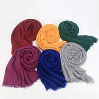Scarves Bubble Fold Cotton Scarf Fringes Women Muslim Crinkle Hijab Muffler Shawls Big Pashmina Wrap Shawl For Lady