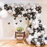 Party Dekoration 125 stücke Metallic Schwarz Silber Weiß Ballon Girlande Set Latex Globos Hochzeit Geburtstag Baby Dusche Dekorationen Kinder Liefert