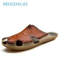 Mixidelai Qualitätsleder rutschfeste Hausschuhe Männer Strand Sandalen Komfortable Sommerschuhe Klassiker Flip Flops 210622