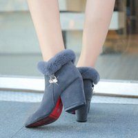 Boots Ladies Fur Ankle Pointed Toe Wedges Autumn Velvet Shoes Suede 2021 Fashion Style Mid-heel Low