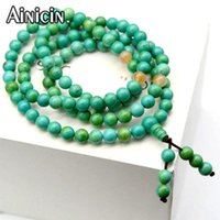 High Quality Natural Blue Green 6mm Turquoise Round Beads Elastic Multi-layer Bracelets & Necklace For Women Jewelry 5pcs Beaded, Strands