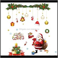 Stickers Décor Home & Garden Drop Delivery 2021 Christmas Wall Decoration Artistic Conception Cartoon Window Static Sticker Cellophan Snowfla