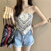 4 가지 색상 womens 티셔츠 패션 캐주얼 캐슈 꽃 레트로 슬링 조끼 여름 뜨거운 소녀 삼각형 스카프 숙녀 외부 착용 튜브 탑