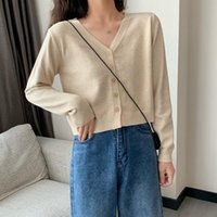 Candy Color Knit Sweater Autumn Women's Small Short V-neck Long Sleeve Loose Casual Wild Thin 2021 Knits & Tees