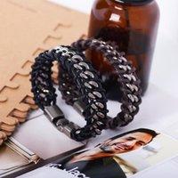 Charm Bracelets Punk Creative Leather Wrap Chain Bracelet For Men Jewelry Wrist Accessories Wholesale